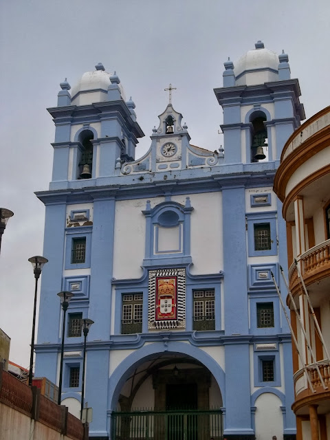 Blue and white church in Terceira, Azores, Portugal, on Semi-Charmed Kind of Life