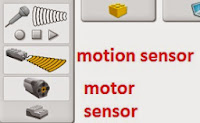 Lego Wedo Connection tab showing motor and sensor connected