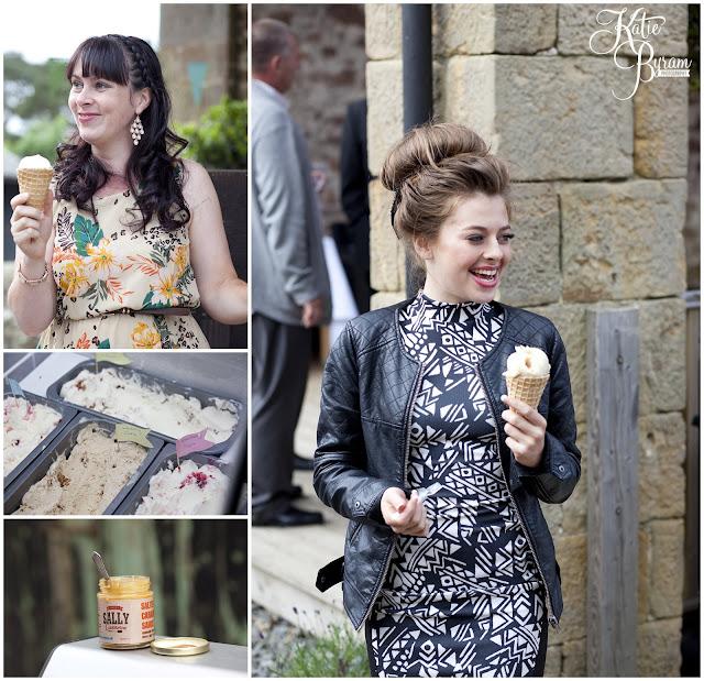 wedding ice cream, bride in window, bridal prep, vintage wedding, high house farm brewery wedding, northumberland wedding photography katie byram photography,
