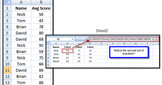 Excel Spreadsheets Help: How to find the best score based ...