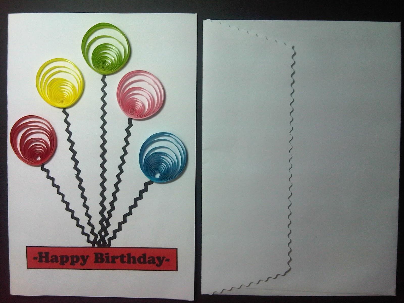 Balloon birthday card + lop. media: karton manila (uk. 10x15 cm