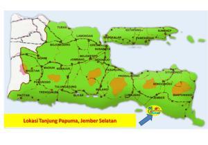 Peta pantai Papuma, Jember Jawa Timur