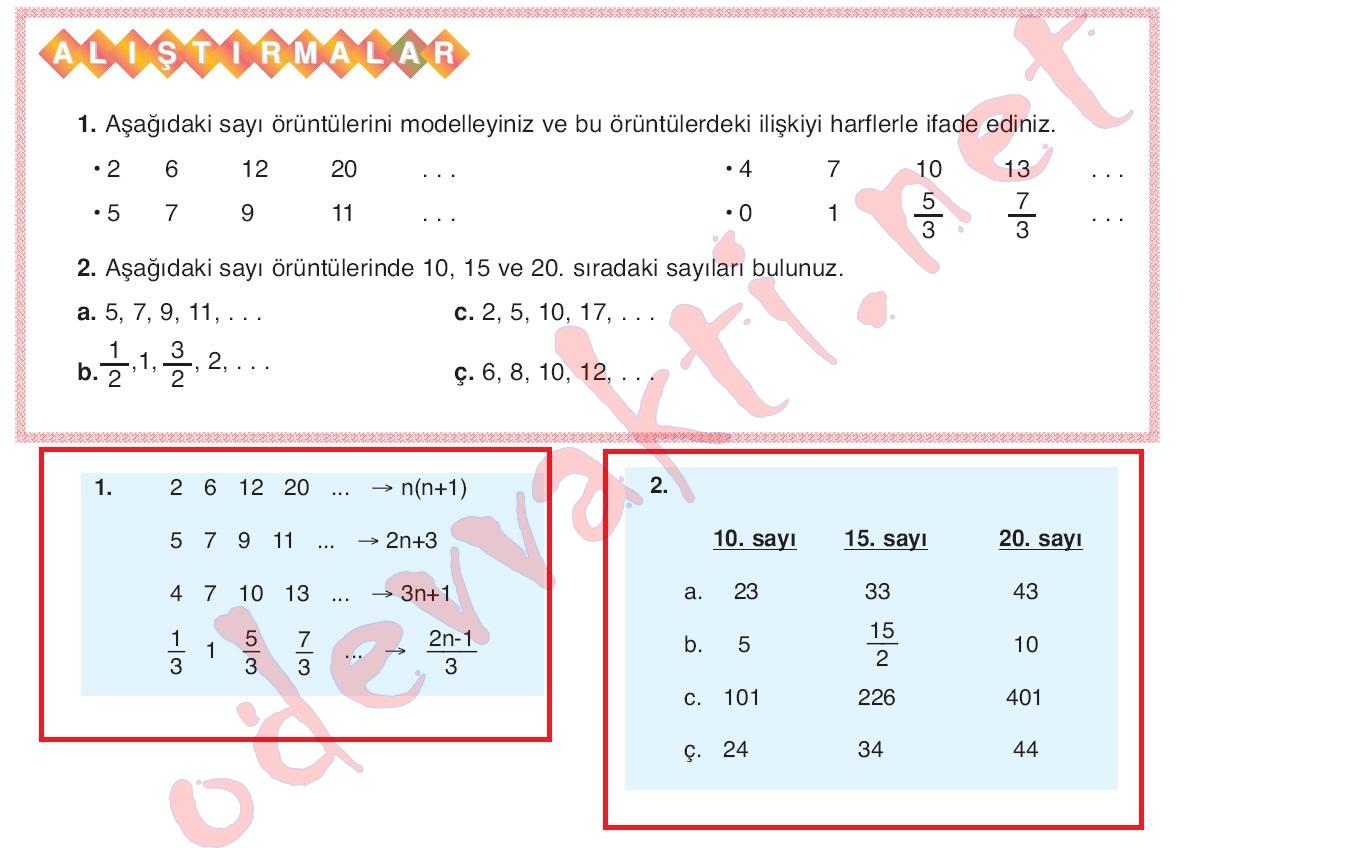 çalışma Kitabı ödev Arşivi 7 Sinif Matematik Ders Kitabı Cevapları