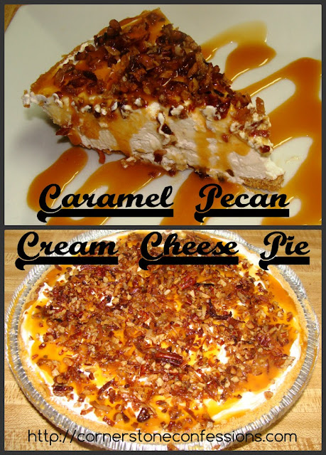 Caramel Pecan Cheese Pie from Cornerstone Confessions. Part of the Fall In Love With Fall Series at Hi! It's Jilly. #recipe #fall #dessert