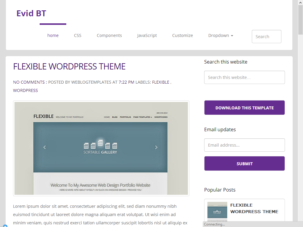 EvidBT is a Professional Responsive Blogger Template for Any Type of Blog