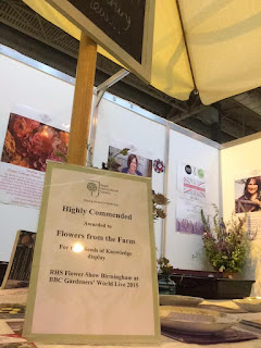 Flowers from the Farm Highly Commended at BBC Gardeners' World Live 2015 for their stand of British flowers