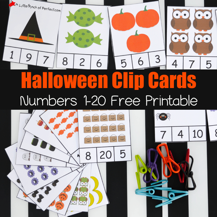 Free Printable Halloween Clip Cards: Counting 1-20 -