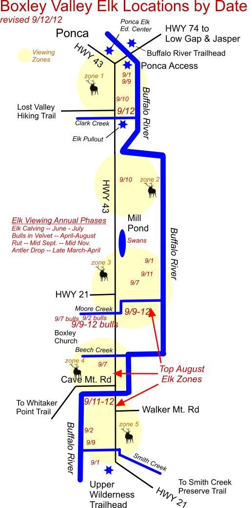 Elk Herd Locations 9/12/12 in Boxley Valley near Ponca, AR