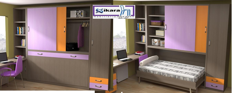 Camas abatibles para ni os for Dormitorios juveniles con escritorio incorporado