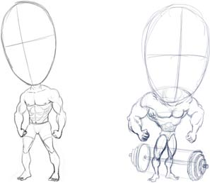Caricature Muscleman Concept