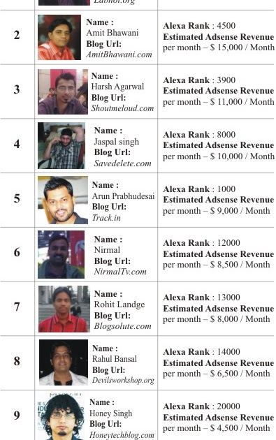 bloggers india their earnings