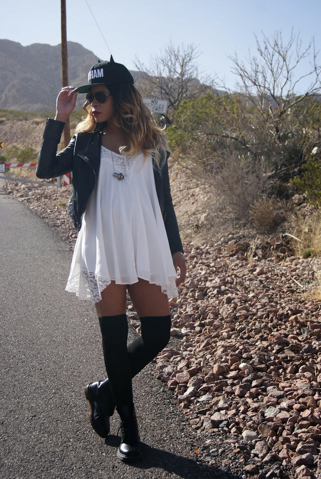 knee socks, allthingsslim, ombre hair, bunny ear hat, snap back,