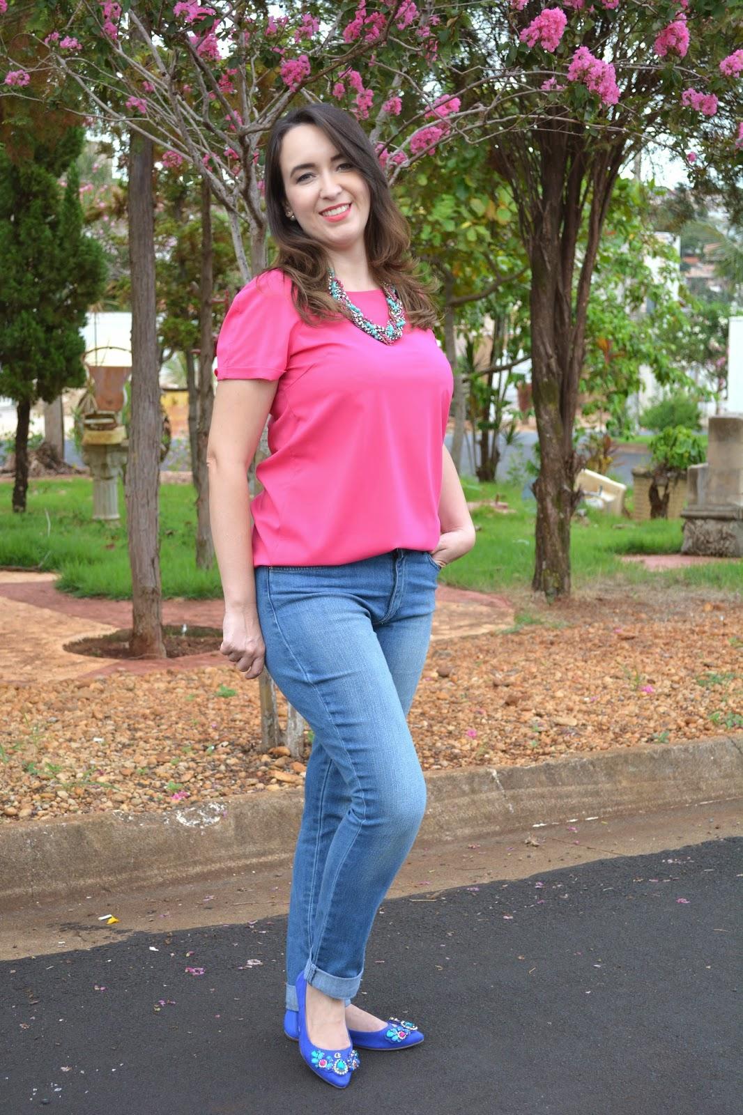 look do dia, look pink, calça jeans, blusa pink, sapatilha azul, carmen steffens novo shopping, blog camila andrade, carmen steffens, blog de moda de ribeirão preto, inspiração pink