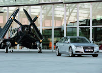 Audi A8 L and jet plane HD Wallpaper