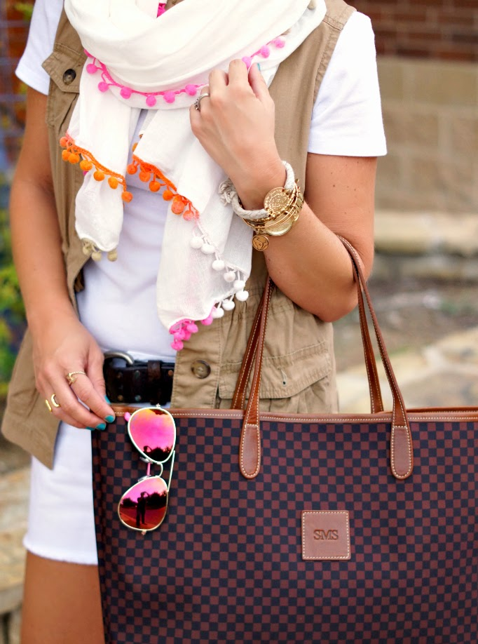 black and brown Checkered barrington tote bage