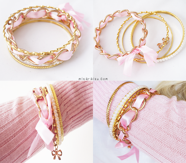 pink gold ribbon bracelet