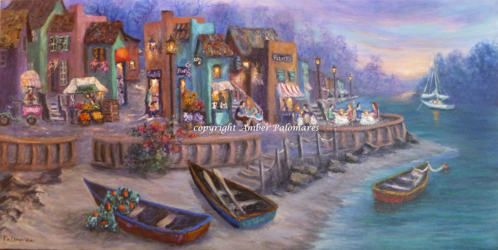 italian tuscan village cafe paintings coastal art by