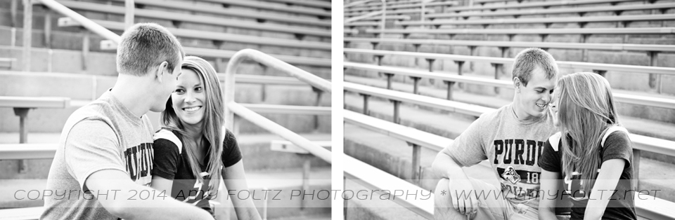 engagement photos at Ross-Ade Stadium at Purdue university