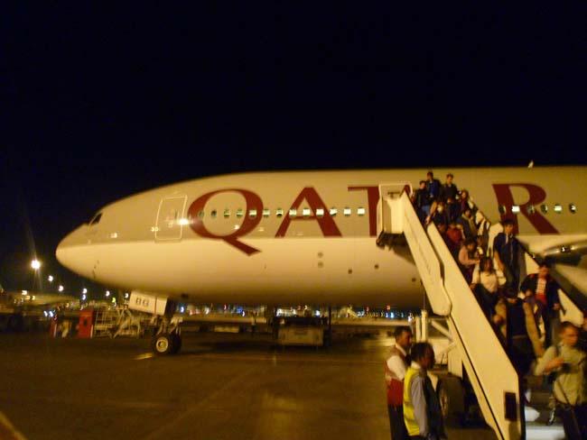 El avión en Doha, Qatar