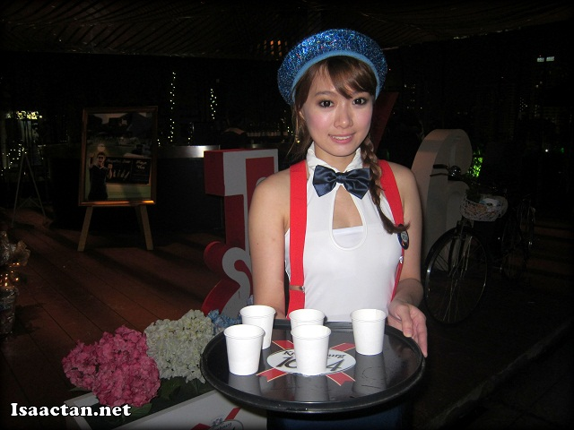 The Kronenbourg 1664 lady serving us some good French beers before we entered Rootz KL