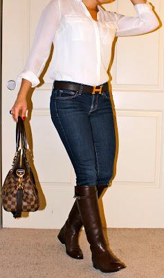 Gucci jacket, J Brand jeans, Hermes belt, YSL arty ring, Louis Vuitton purse, Hermes riding boots