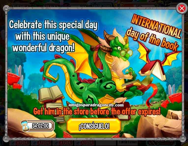 imagen de la oferta especial del dragon dia libro de dragon city