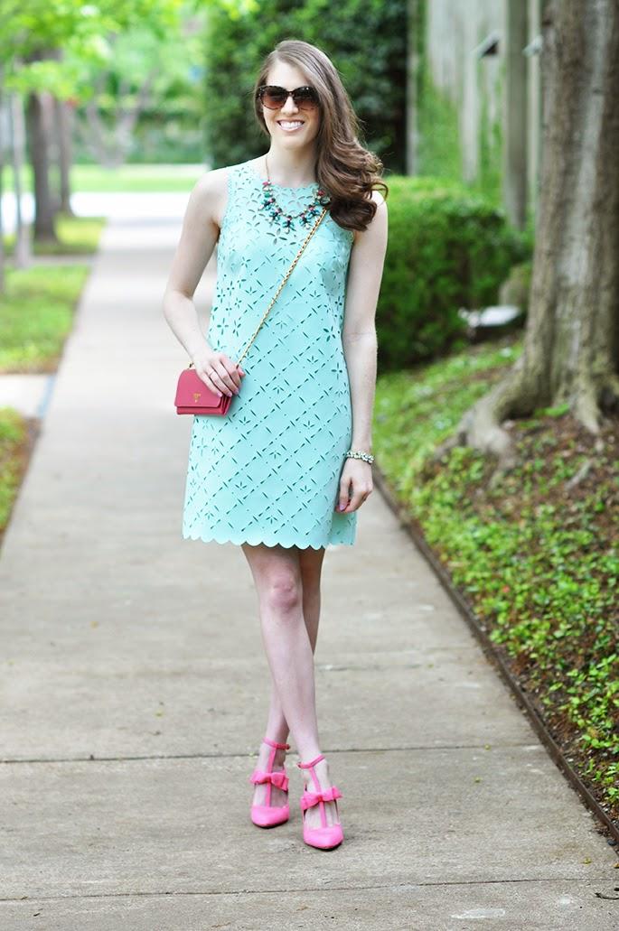J.Crew laser cut floral shift dress