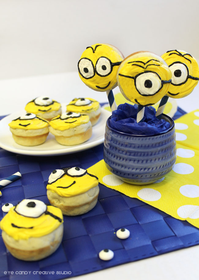 candy eyes, goggles, minions face, minions donut pops, minions movie