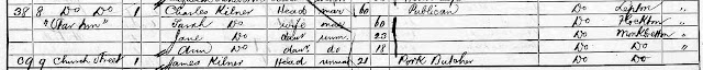 "1861 census snip - 8 Church Street ""Star Inn"" occupied by Charles and Sarah Kilner and their daughters Jane and Ann.  At no 9 James Kilner a Pork Butcher is listed."
