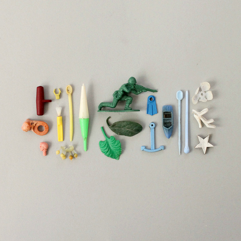 collected treasures - plastic beach finds
