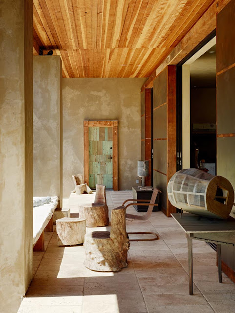 Taupe Integral Plaster Walls And Turkish Stone Tile Floors Whence The Packing Crates Offer A Tranquil Uncluttered Background For Hales Duchampian
