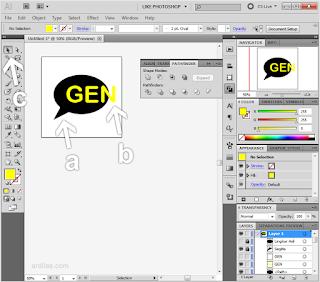 a. Gambar utama | b. Teks | c. Selection tools - Cara Memotong Gambar Dengan Teks Tulisan - Illustrator AI
