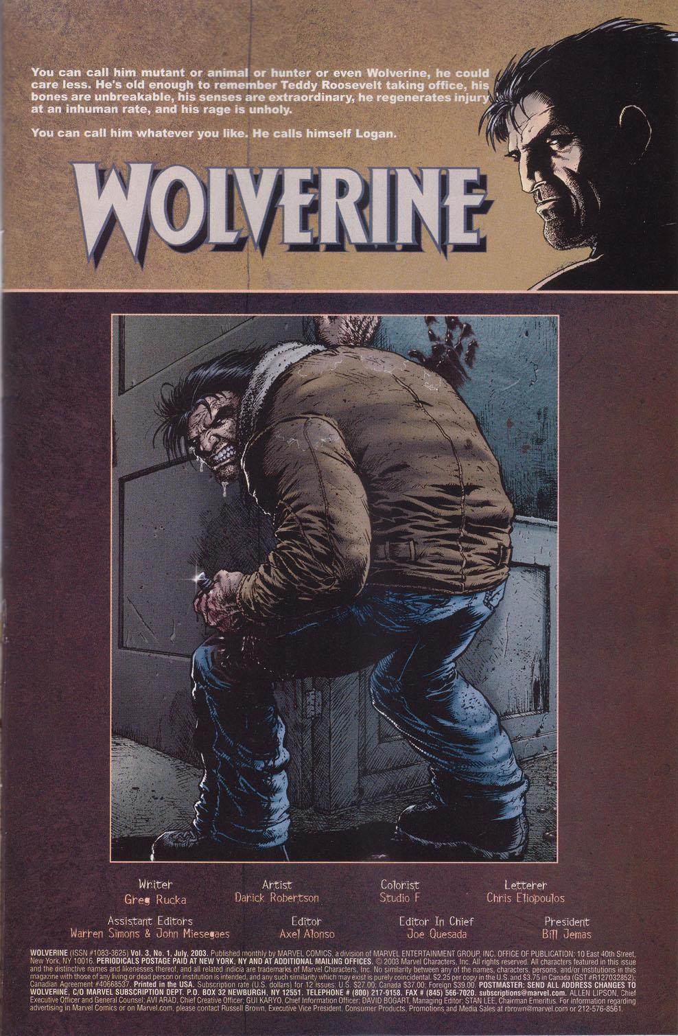 Read online Wolverine (2003) comic -  Issue #1 - 2