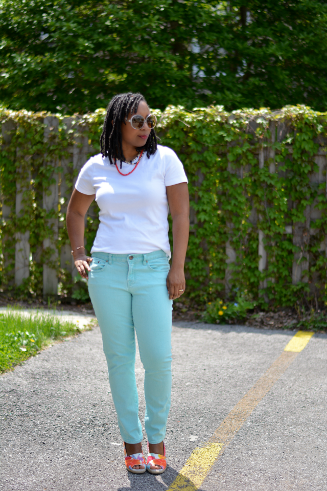 white tee mint jeans