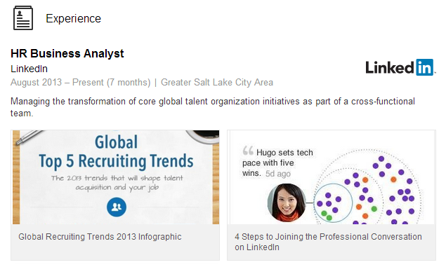Image of some presentations embedded in a LInkedin profile