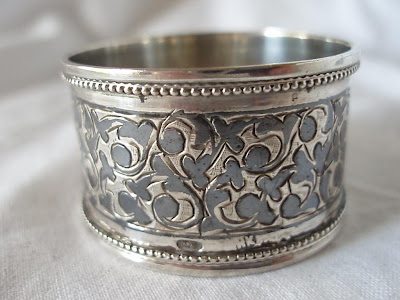 RUSSIAN SILVER AND NIELLO WORK NAPKIN RING, circa 1890