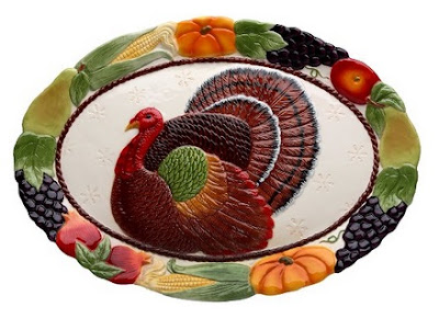 Colorful Turkey Design Ceramic Platter Features the Beautiful Colors of Autumn