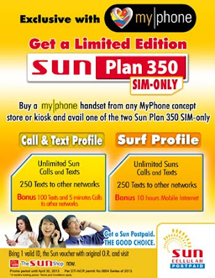 Get a limited edition sun plan 350 sim only with myphone for Sun mobile plan