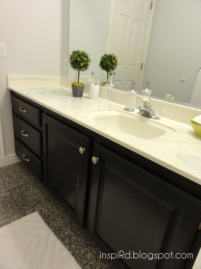 Inspird staining bathroom cabinets my first diy project for How to stain a bathroom vanity