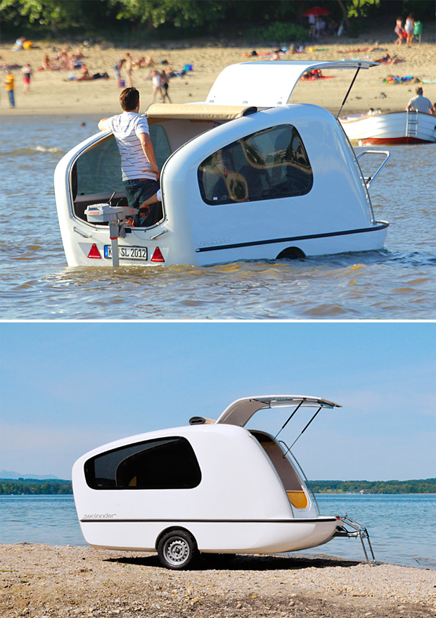 Sealander (Sealander price $20,000) The Sealander is both Camper/Boat, German-designed amphibious mini-camper is light enough to be towed behind your car and offers the option of camping beside the lake or floating on it. Simply mount an outboard motor to the stern and the Sealander is ready for your voyage