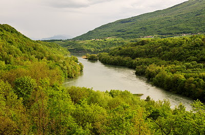 Landscape photograph on the Rhône river running through a green valley at springtime