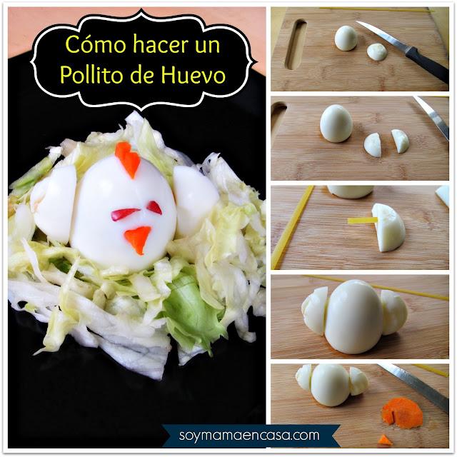 ideas comidas para niños pollito de huevo