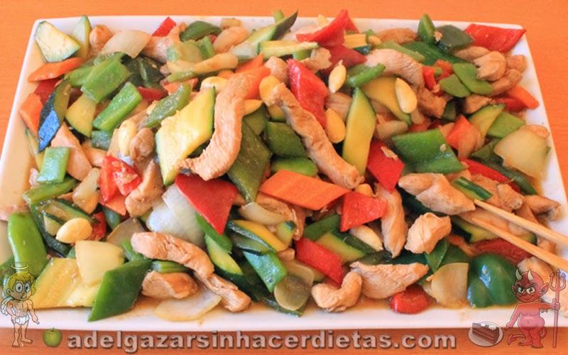 Receta saludable de POLLO CON ALMENDRAS bajo en calorías y colesterol, apto para diabéticos. COCINA FÁCIL Y SANA. COMIDA CHINA. INCLUYE VIDEO.