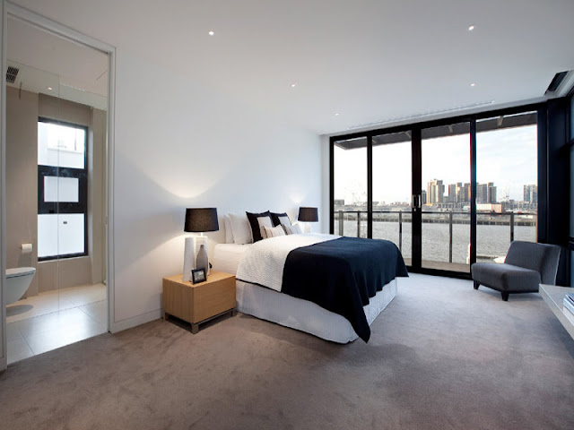 Photo of first modern bedroom interiors decorated in black and white