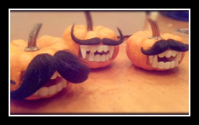 Pumpkins, mustaches, fangs, easy pumpkin carving