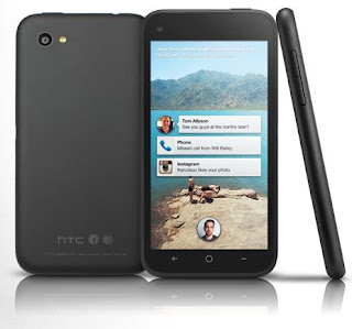 HTC First facebook-phone in black color showing back,front and side view