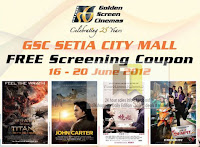 GSC Cinema Setia City Mall FREE Screening Coupon 2012