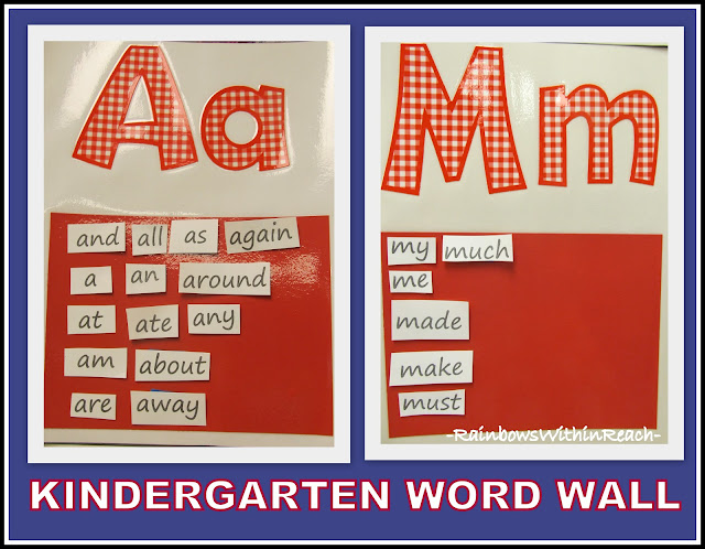 Word Wall Posters by Letter in Kindergarten (from RainbowsWithinReach Round-up of Word Walls)
