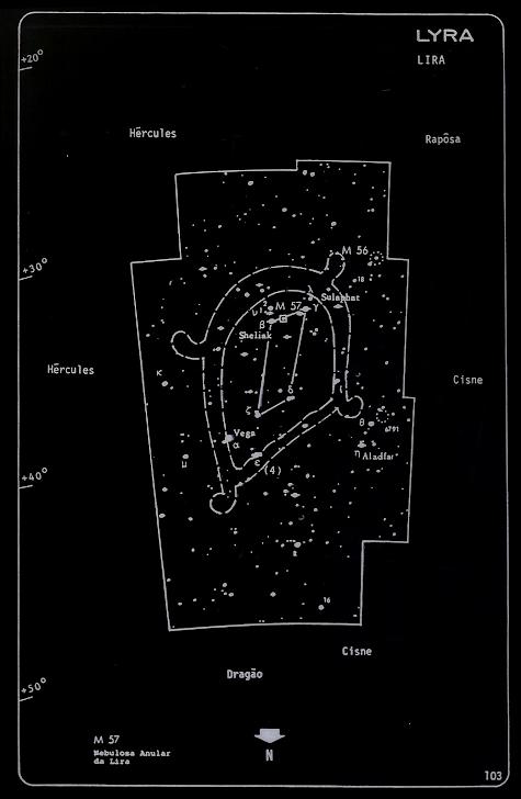 Lira em céu noturno, na carta celeste realizada por Mario Jaci Monteiro - CARJ
