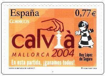 Sello conmemorativo de la Olimpíada de Ajedrez de Calviá 2004